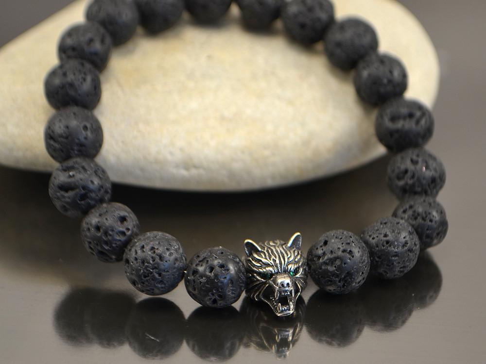 Браслет морда волка (браслет из лавы)