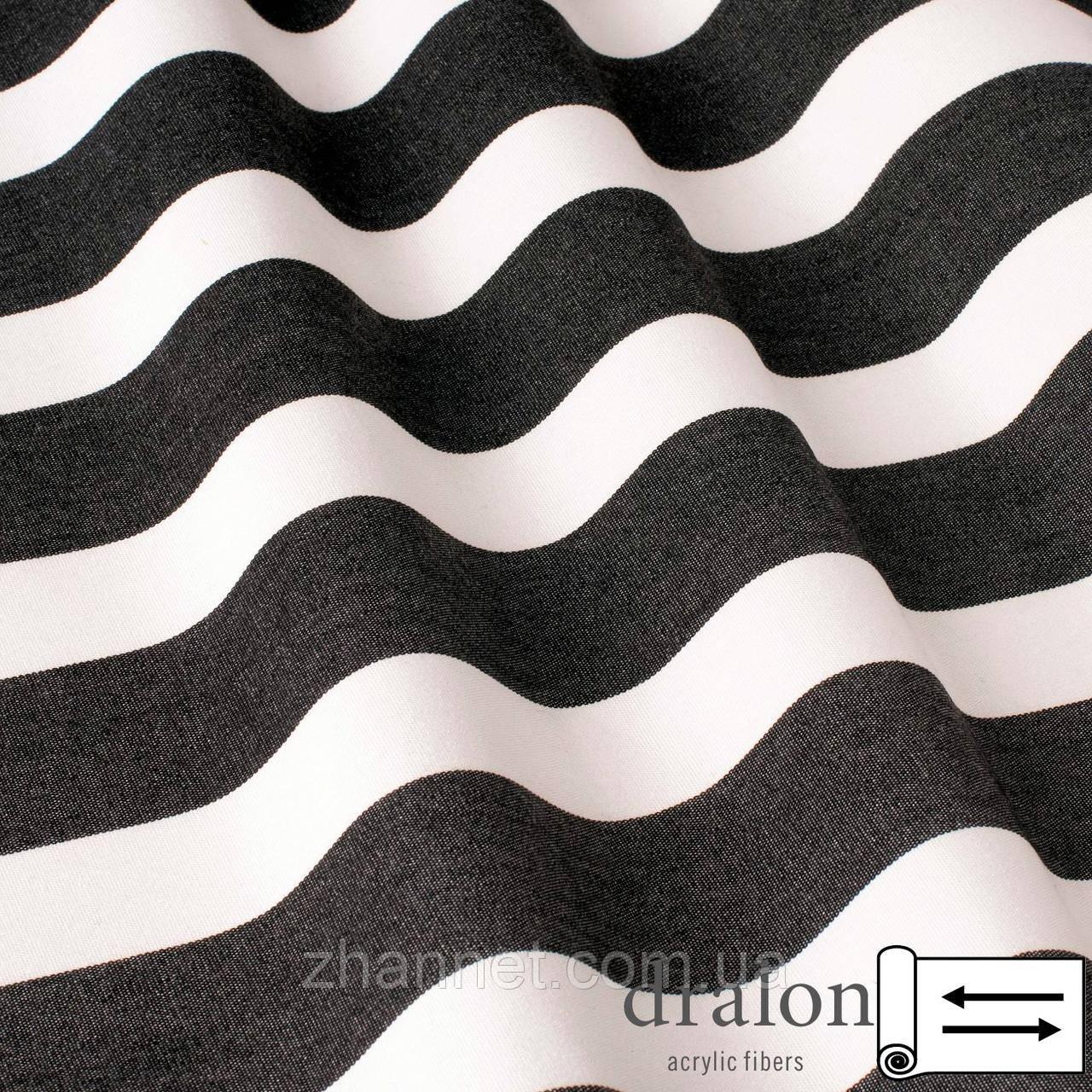 Ткань Дралон полоса бело-чёрная 160 см (5683004)