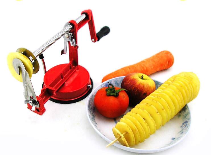 Овощерезка для спиральных чипсов. Машинка для спиральной нарезки картофеля и овощей