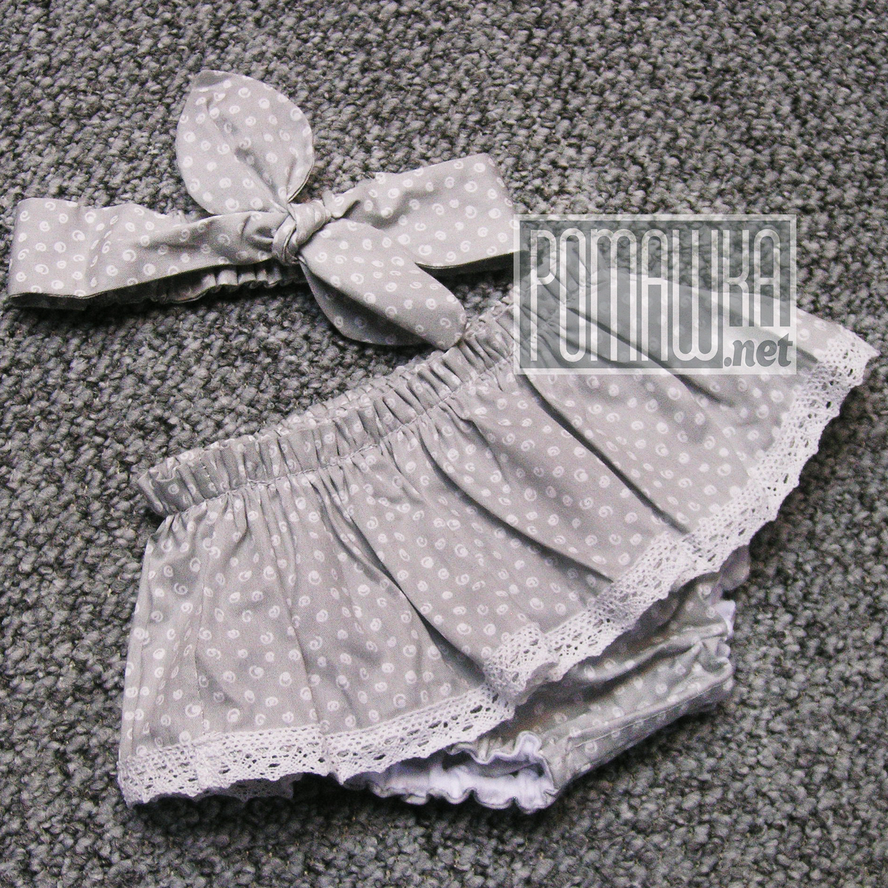 Детский комплект 74-86 5-12 мес блумеры трусики юбочка на памперс и нагрудник для девочки малышки 4711 Серый