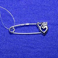 Серебряная брошь-булавка Сердечки 7107