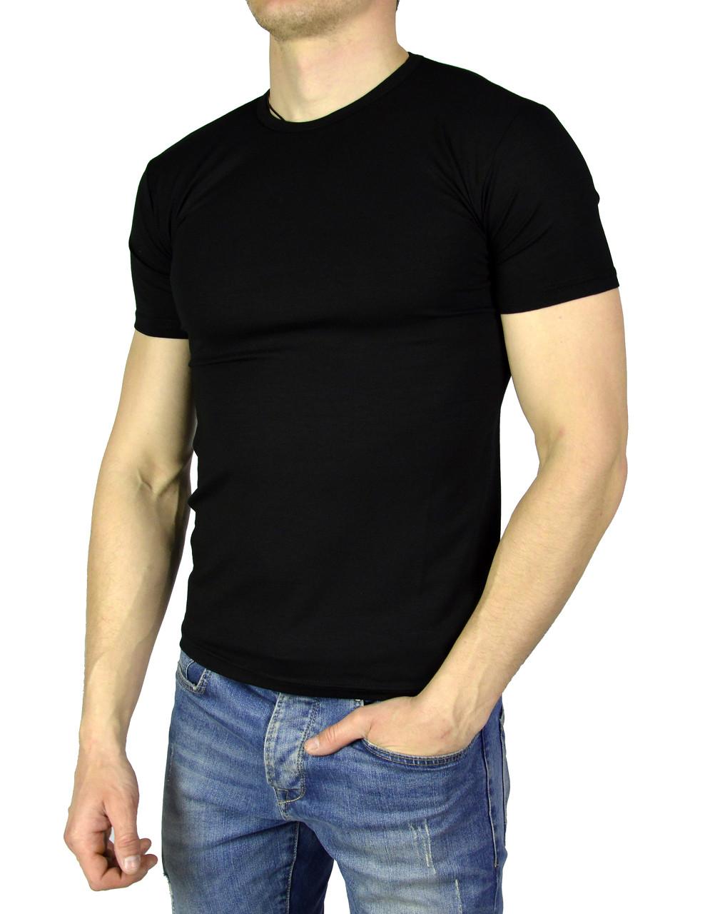 Черная мужская футболка однотонная WILUSA на лето