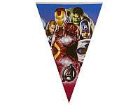 Флажки-гирлянды (карнавальная гирлянда из флажков) вымпелы 2,5 - 3 метра - Супергерои/Мстители/AVENGERS/Марвел, Синий