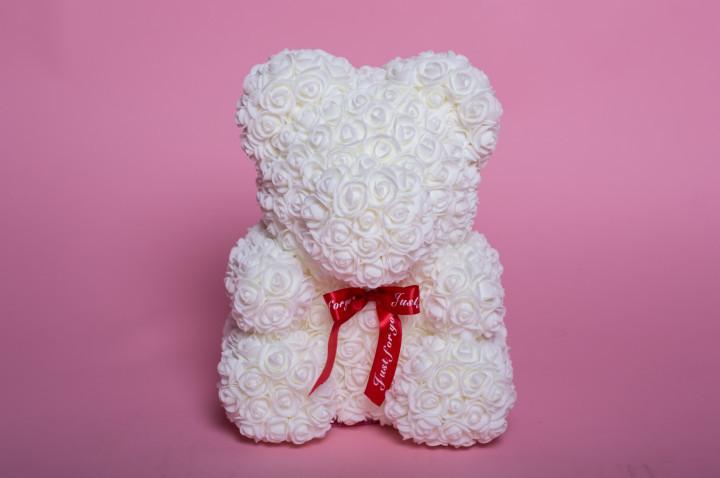 Мишка из роз Wish Mish Bless Белый с лентой 25 см