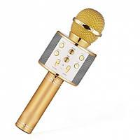 Беспроводной караоке микрофон колонка Bluetooth Wster WS-858 Gold , фото 1