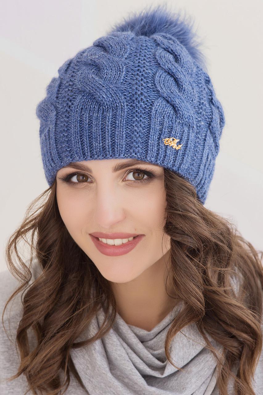Женская шапка «Ирен» с цветным песцовым помпоном