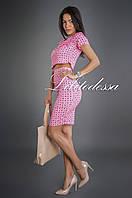 Комплект топ+юбка розовый