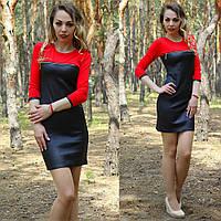 Платье из экокожи с молнией на груди