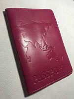 Кожаная розовая обложка на паспорт из тиснением карта мира