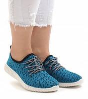 Женские кроссовки вязаные бирюза