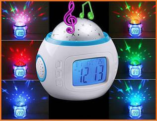 Музыкальные часы с проектором звездного реба