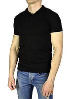 Черная мужская футболка с воротником поло FTX, фото 1