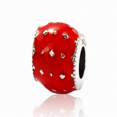 Серебряный шарм для браслета с красной эмалью Барбарис