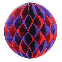 """Бумажные шары """"соты"""" 20 см красный и фиолетовый"""