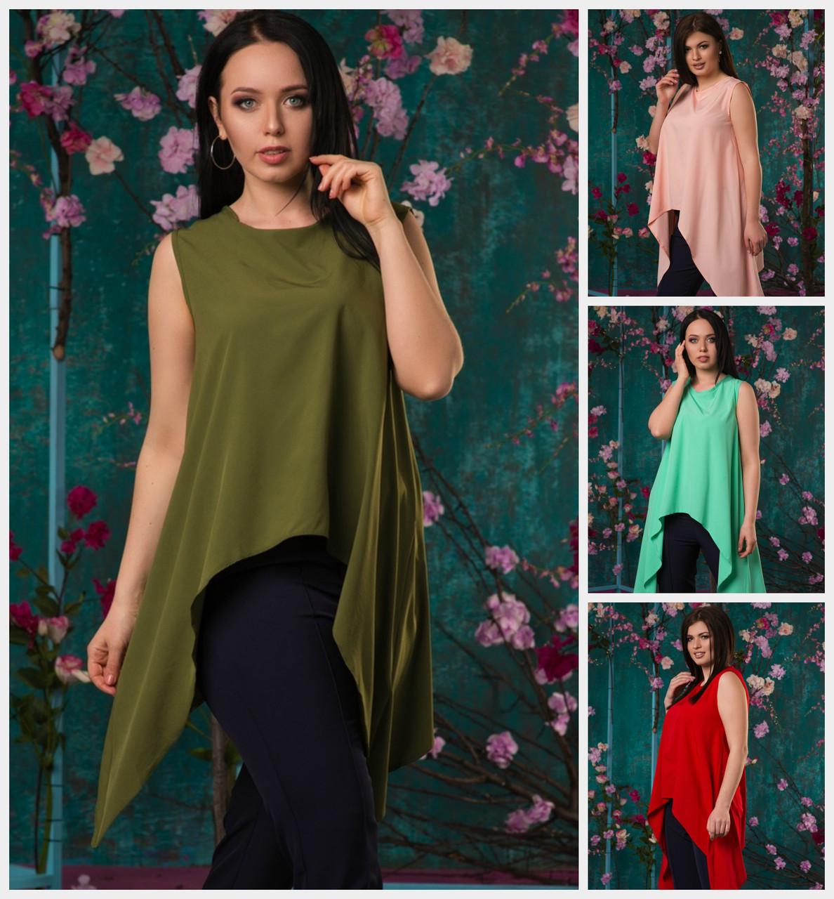 5637e519aa8 Женская блуза удлиненная по бокам Батал до 56 р 19019-1  продажа ...