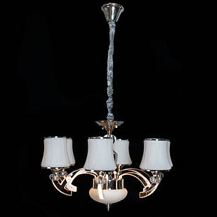 Современная классическая люстра на 6 лампочек СветМира с LED подсветкой рожков D-9452/6 (хром)