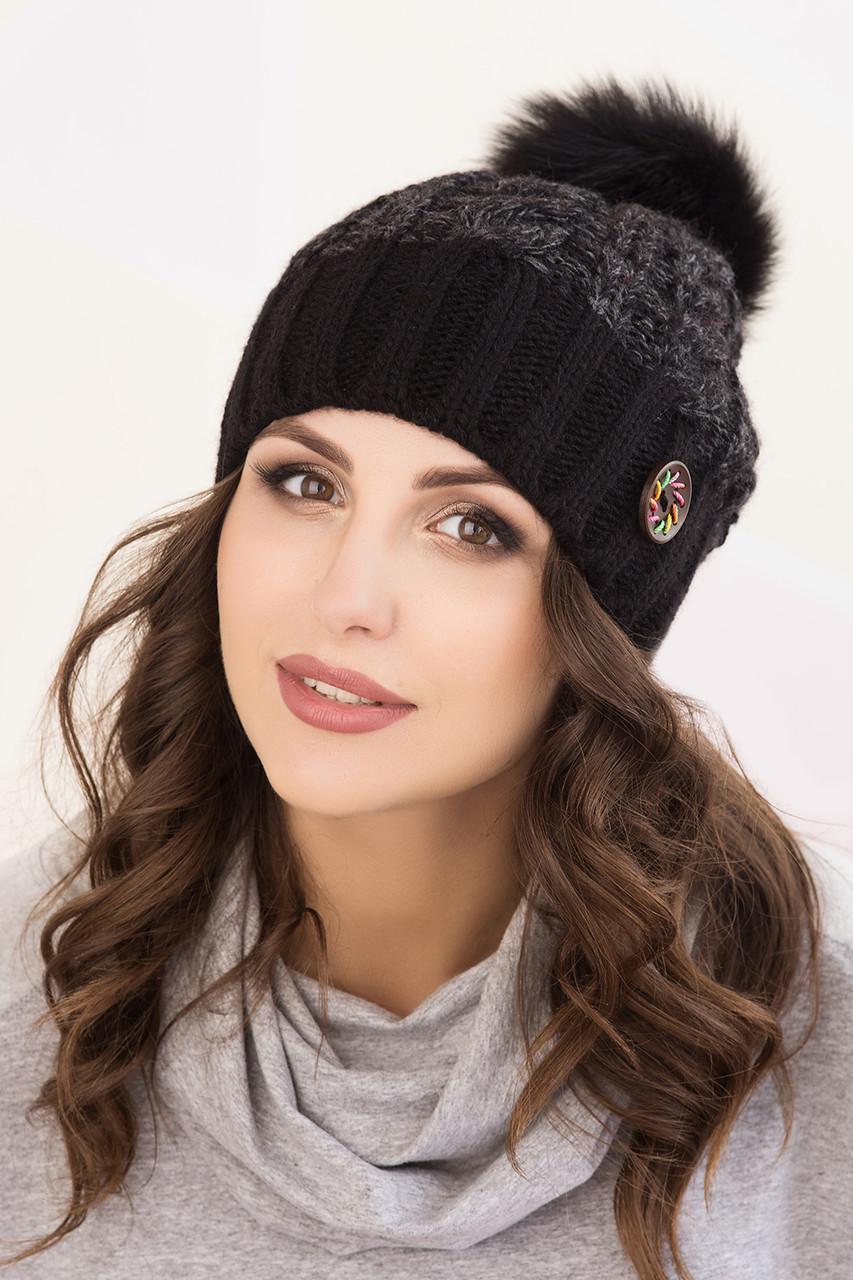 Женская шапка меланж «Клеопатра» с Большим цветным песцовым помпоном