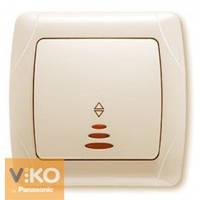 Выключатель одинарный проходной с подсветкой крем ViKO Carmen 90562063