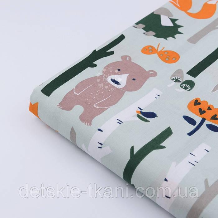 """Отрез ткани """"Лисички с березами"""" на серо-мятном фоне (№910а) размер 52*160"""