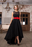 Платье женское вечернее ассиметричное без рукавов с поясом бант, фото 1