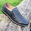 Мужские туфли кожаные летние черные ( код 244 )