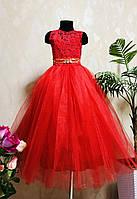 Нарядное пышное платье  Капля с ручной работой на выпускной 6-10 лет