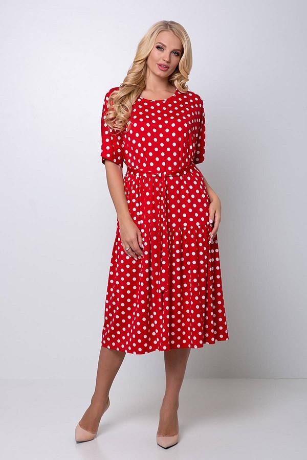 Яркое платье в крупный горох Элена красное (54-60)