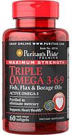 Жирні кислоти Puritan's Pride Triple Omega 3 6 9 Fish Flax Borage Oils
