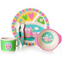 Набор детской посуды - Сова Tiny Footprint. Бамбуковая посуда, эко посуда из бамбука, ECO посуда, безопасная посуда, детская посуда