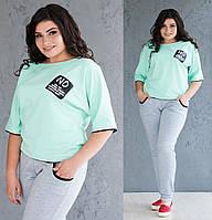 9eebc66cd3b Летний спортивный костюм женский большого размера трикотажные штаны и кофта  рукав 3 4