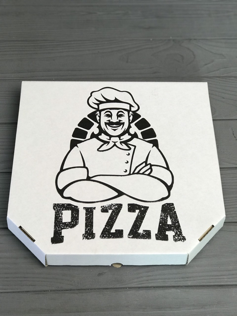 Коробка для пиццы c рисунком Cook 300Х300Х30 мм (Чёрная печать)