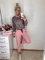 Стильный женский спортивный костюм кофта велюровая и штаны из турецкой двунити 42-44, 44-46