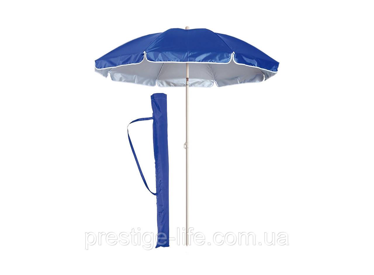 Зонт диаметром 2,2 м. Пластиковые спицы. Серебренное покрытие. Синий