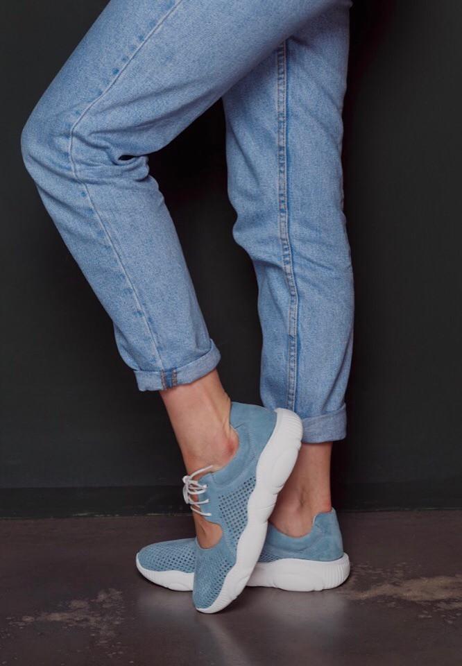 Открытые летние замшевые  кроссовки с перфорацией Ted Dream (голубые)