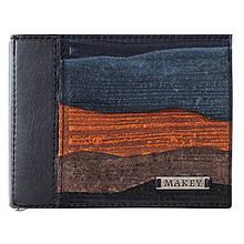 """Зажим для денег кожаный с замшевыми вставками с отделениями для карт и монет """"Фьорды"""" (Makey). Цвет черный"""