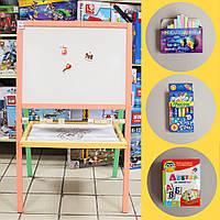 Мольберт детский двухсторонний цветной с кубиками