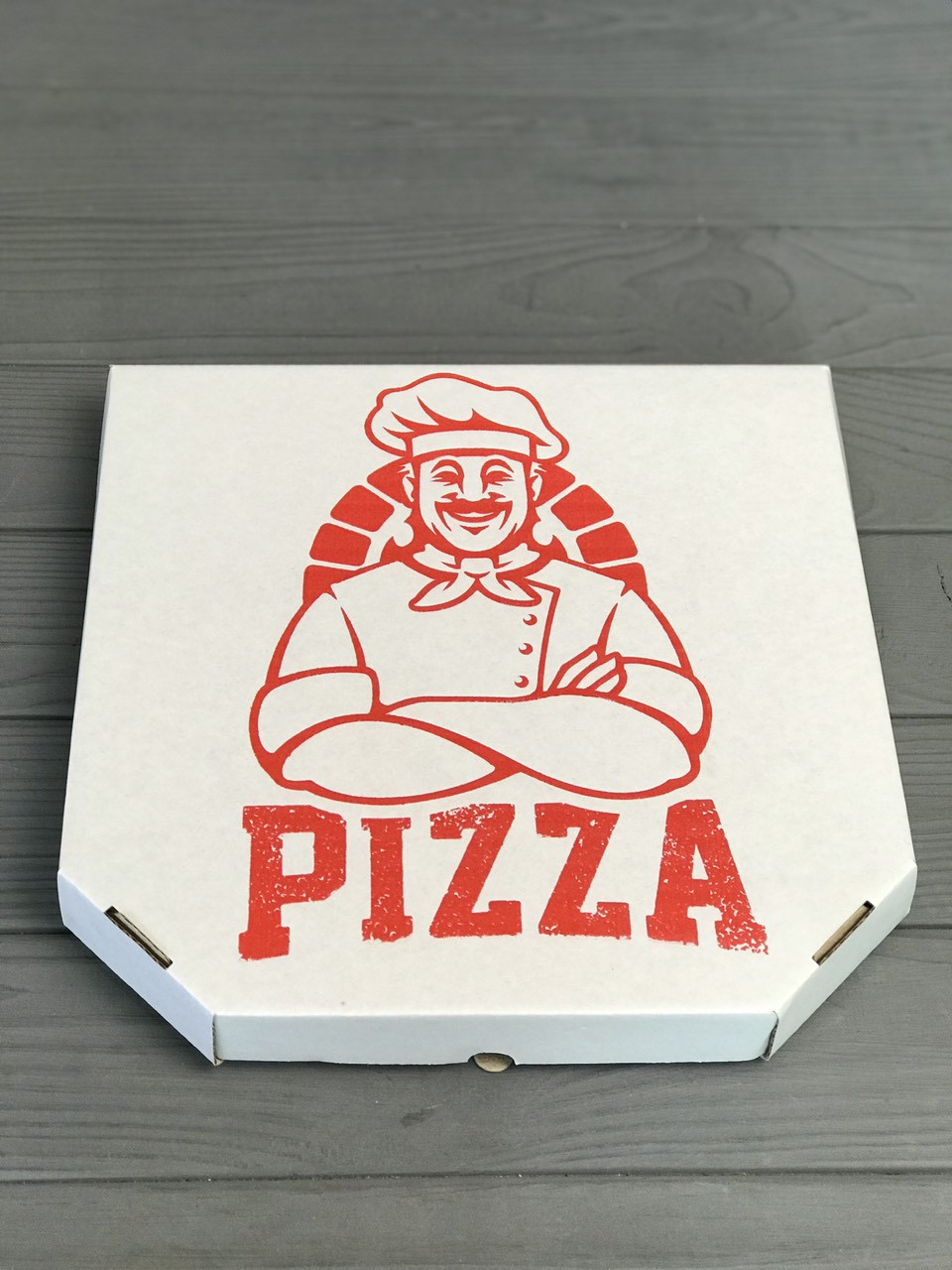Коробка для пиццы с рисунком Cook 250х250х30 мм (Красная печать)