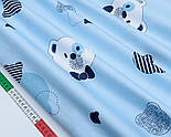 """Лоскут сатина """"Голова мишки с синей бабочкой и полосатые контуры"""" на голубом № 1764с, фото 2"""