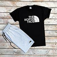 Мужской спортивный костюм летний The North Face серо-черный | Комплект мужской Шорты + Футболка ТОП качества