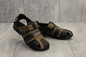 Босоножки Clarks 158 (лето, подростковые, натуральная кожа, оливковый-черный)