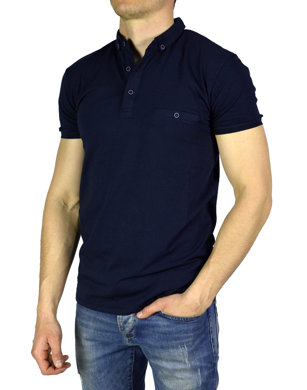 Темно-синяя мужская футболка с воротником поло BY MASURA