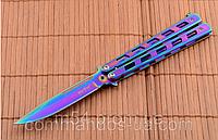 Нож бабочка или балисонг Хамелеон (радуга), фото 1