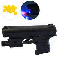 Пистолет 0621B (240шт) на пульках, 15см, свет, лазер, на бат_ке(табл), в кульке, 15_11,5_3см