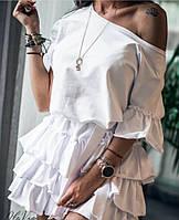 Женское легкое летнее платье с воланчиками