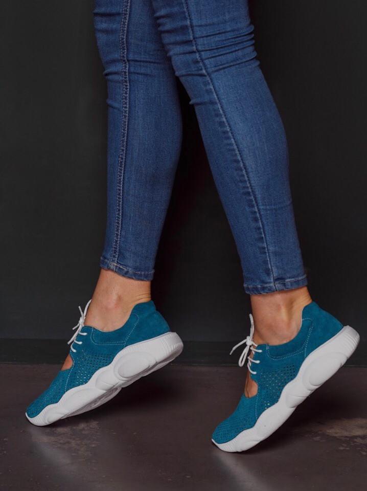 Открытые летние замшевые  кроссовки с перфорацией Ted Dream (морская волна)