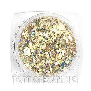 Komilfo блесточки MIX chameleon 002, микс размеров, (золотой/зеленый/голубой), 1,5 г