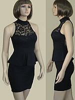 Оригинальное черное платье с гипюровым верхом