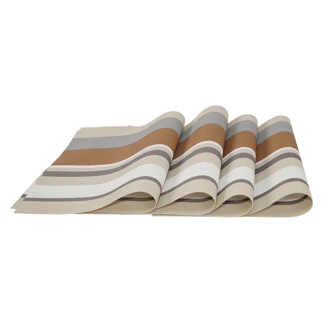 Коврики под тарелки на стол, сервировочные, набор, 4 шт., цвет - бежево-коричневый (NS)