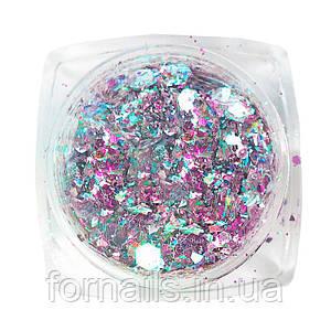 Komilfo блесточки MIX chameleon 004, микс размеров, (розовый/бирюзовый/голубой), 1,5 г