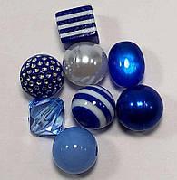 Комплект пластиковых бусин ассорти_СИНИЙ (полосатый), фото 1
